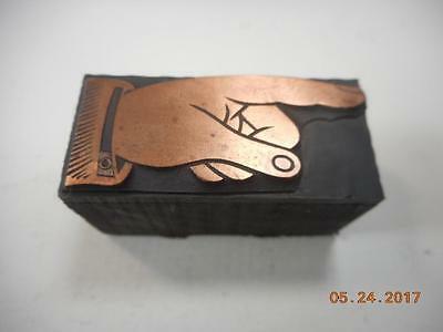 Printing Letterpress Printers Block, Detailed Pointing Finger, Printers Cut