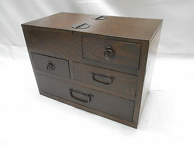 Antique Keyaki and Sugi Wood Sewing Box Japan Drawers Circa 1920s #642