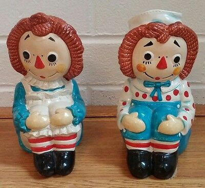 Raggedy Ann and Andy Ceramic Bookends  Collectible 1970 Vintage Antique
