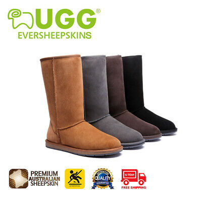 Ugg Boots Sheepskin Tall Classic Pull On Black Brown Ladies Men Size EU 35-44