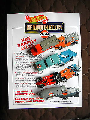 Gulf Gas & Oil - Old Advertising Dealer Sheet with 4 Hot Wheels Vehicles - Truck