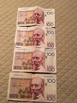 100 Frank Note from Belgium (4 in total