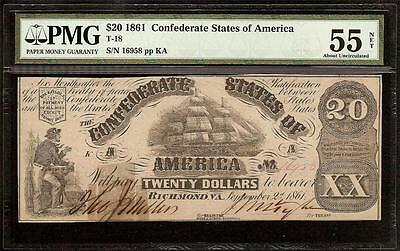 1861 $20 Bill Confederate States Currency Civil War Note Paper Money T18 Pmg 55