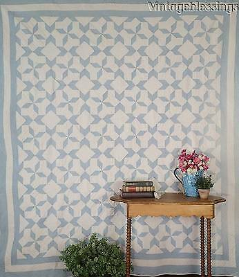 """Exceptional Quilting! ANTIQUE c1920s Baby Blue & White QUILT 85"""" x 77"""""""