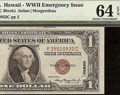 1935 A $1 Dollar Bill Pc Hawaii Silver Certificate Wwii Currency Note Pmg 64 Epq