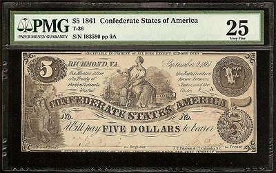1861 $5 Dollar Bill Confederate States Currency Civil War Note Money T-36 Pmg 25