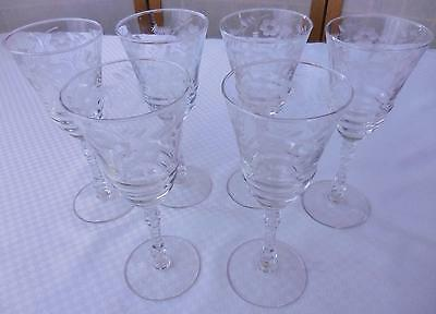 Antique Etched Ribbed Stemmed Wine Glasses - Set of 6 - Excellent Condition