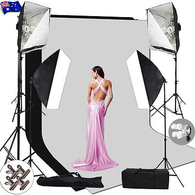 Photography Studio Continuous Softbox Lighting Soft box Light Stand Backdrop Kit
