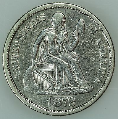 1872 Seated Dime! Au Details! 10C! Us Coin Lot #4031