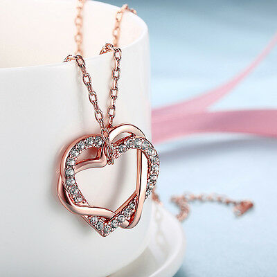 18K Rose Gold Plated Women Heart and Heart Crystal Charm Pendant Chain Necklace