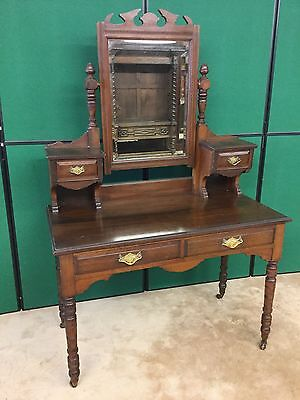 Antique Victorian Mahogany Mirrored Dressing Table