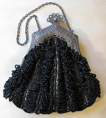 Antique Silver T Filigree Floral Frame Tan Crochet Knit Black Bead Puffy Purse