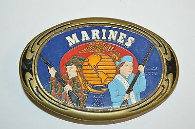 Vintage 1986 USMC United States Marines Corps First to Fight Brass Belt Buckle
