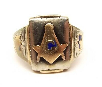 Vtg 10K Yellow & White Gold Masonic Signet Ring Sz 11 Blue Enamel Free Mason