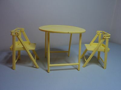 Flatpack Mattel Barbie doll camping furniture OUTDOOR SETTING Table & two chairs
