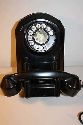 Vintage Monophone Automatic electric wall hung telephone black bakelite