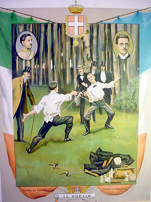 Vintage FENCING DUEL Lithograph Print ITALY FRANCE Flags FOIL Epee SWORD Fight