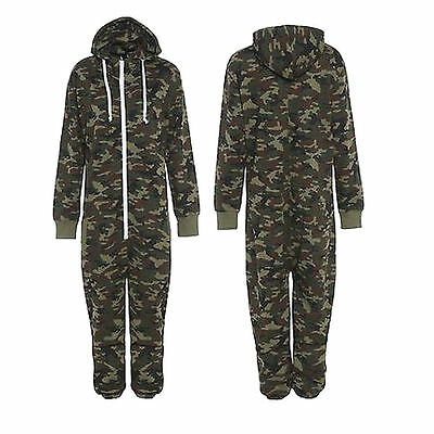 Unisex Women Men Camouflage Bodysuit All in One Hooded Zip up Jumpsuit