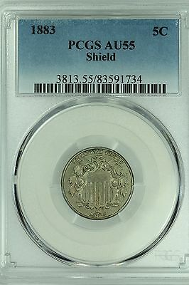 1883 Shield Nickel! Pcgs Au55! 5C! Us Coin Lot #3602