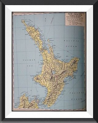 New Zealand North Island Vintage Map c1960 Original Perfect For Framing - m1