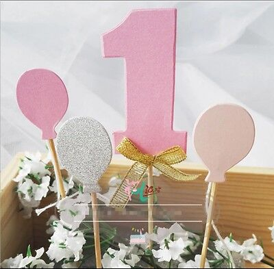 One 1st Birthday Balloons Cake Cupcake Topper Gold Pink Blue Sparkle Boy Girl