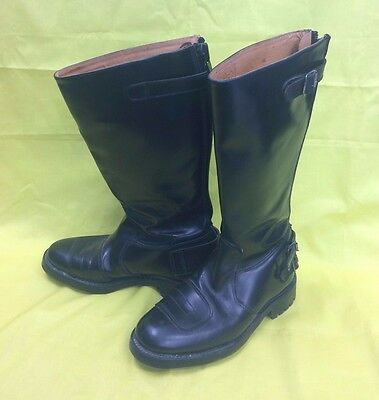 Vintage Gold Top Black Leather Motorcycle Boots - Size 42 UK Size 8