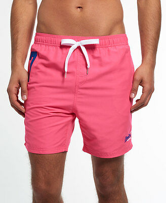 New Mens Superdry Miami Water Polo Shorts Echo Pink