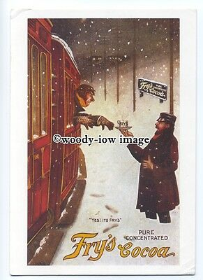 ad0829 - Fry's Cocoa - Chap On Train Being Handed Cocoa - Modern Advert Postcard