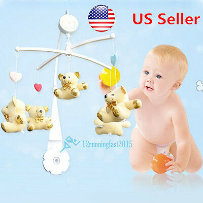 5PC DIY Hanging Baby Crib Mobile Bed Bell Toy Holder Arm Bracket White US STOCK