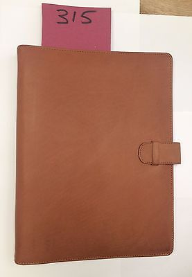 A4 Tan leather folder  (style 315) with 4 ring organiser Room Guest information