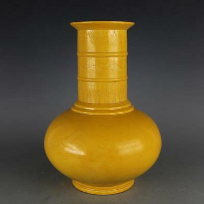 A Delicate Chinese MIng Dynasty Yellow Glazed Porcelain Dragon Vase
