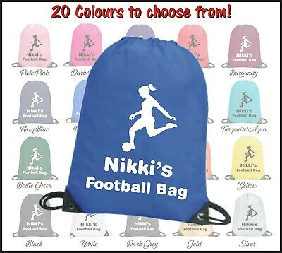 Personalised Girls Ladies Female Football Drawstring Bag - Sports Gym Pe School