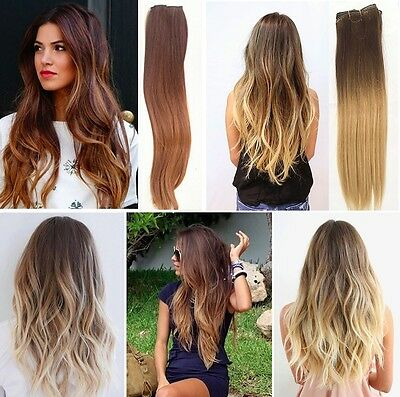 """18"""" Ombre Full Head Clip in Human Hair Extensions Remy Dip Dye Straight Blonde"""