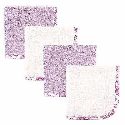 Hudson Baby Print Woven Washcloth, Purple and White, 4 Count