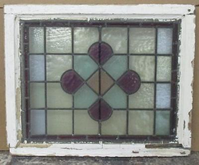 """MID-SIZED OLD ENGLISH EDWARDIAN LEADED STAINED GLASS WINDOW Abstract 25"""" x 20.5"""""""