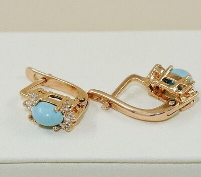 Vintage Style  Russian Solid Rose Gold 14K 585  Turquoise Earrings
