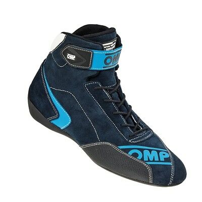FIA OMP FIRST EVO Race shoes Cyan Blue rally boots Drive Leather 8856 NEW 2017