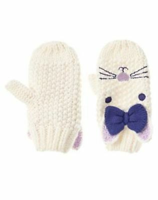 NWT $19 Gymboree size 12 18 24 months girls white BUNNY Crochet Mittens Gloves