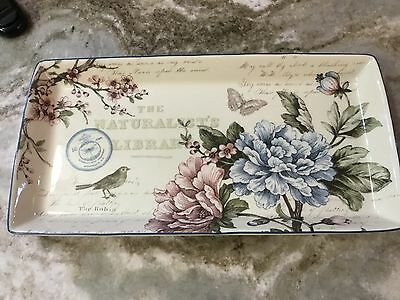 222 Fifth Square Serving Platter. Aubais. Blue And Pink Flowers. 13.5 x 7. New.