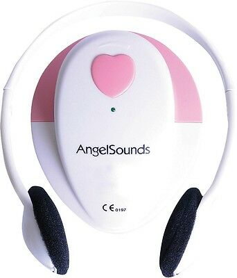Angelsounds Fetal Doppler Baby Heart Monitor with Headphones - White/Pink A