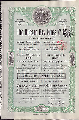 Canada 1911 The Hudson Bay Mines Silver Co Ltd 1 share $5 Uncancelled coup DECO