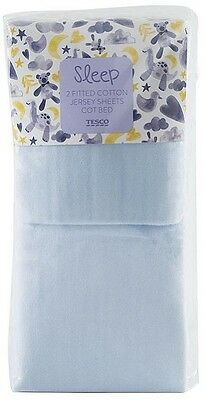 Tesco Pack of 2 Cotton Jersey Fitted Cot Bed Sheets - Blue A