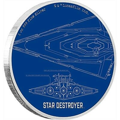 Star Wars Ships - Star Destroyer $2 1oz Pure Silver Proof Coin Disney Niue 2017