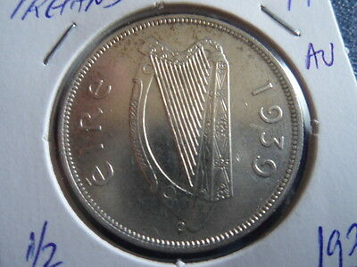 1939 WW2 Era Irish Silver Half Crown Irish Harp and Hunter Horse-AU-Stk#17-114