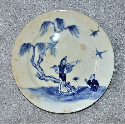 antique ceramic plate in 1878, by E. F. J., Chinese theme, diameter of 15 cm