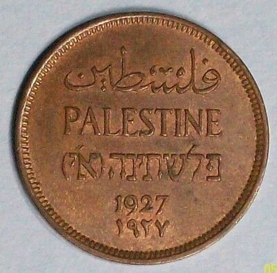 Palestine 1 Mil 1927 Extra Fine/almost Uncirculated Bronze Coin
