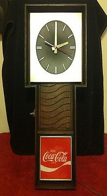 RARE Vintage 70's Coca Cola Wall Wave Carved Wood Clock Light Retro Hipster Coke