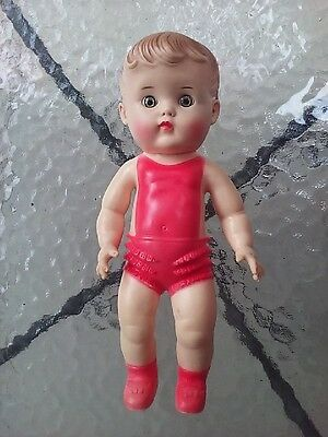 Sun Rubber Doll Vintage Baby 10 Inch Toy Red Outfit 1956 Vintage