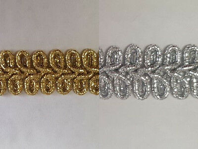 Braid Gold or Silver Military Style Lurex Trimming 10mm Wide