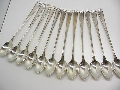 """Set Of 12-Gorham Sterling Silver Etruscan 7.75"""" Iced Tea Spoons No Monograms"""